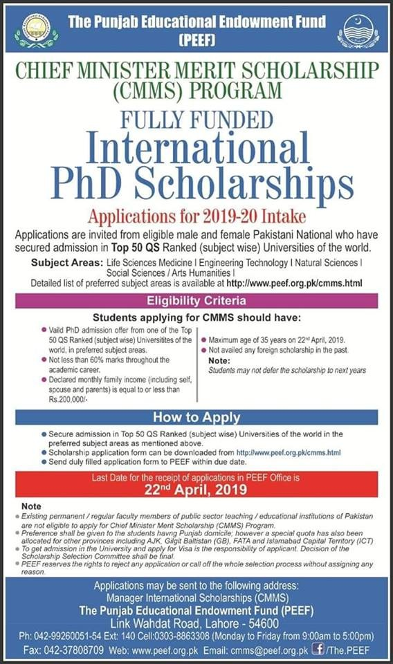 PEEF International Scholarship