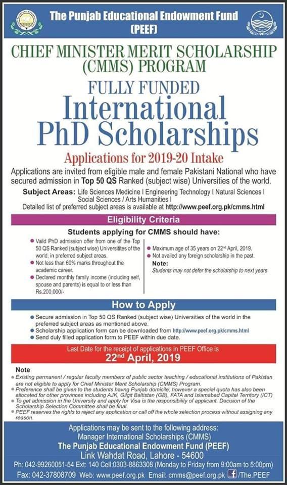PEEF International Scholarship